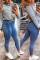 Sky Blue Fashion Sexy Sportswear Skinny Patchwork Trousers
