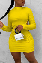 Yellow Fashion Sexy Elegant Regular Sleeve Long Sleeve O Neck Long Sleeve Dress Mini Solid Dresses