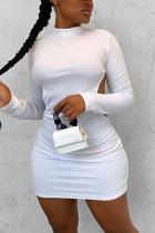 White Fashion Sexy Elegant Regular Sleeve Long Sleeve O Neck Long Sleeve Dress Mini Solid Dresses