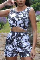 Black Fashion Casual Sportswear Sleeveless O Neck Tank Regular Mixed Printing Two Pieces