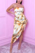 Yellow Fashion Sexy Elegant Spaghetti Strap Sleeveless Spaghetti Strap Sling Dress Mid Calf Mixed Printing Dresses