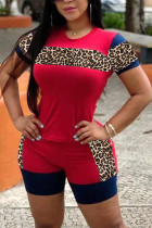 Red Polyester Casual Leopard Patchwork Straight Short Sleeve Two Pieces