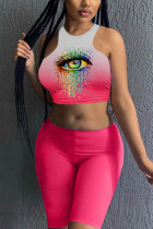 Red Fashion Sexy Sleeveless Regular Mixed Printing Eyes Printed Two Pieces