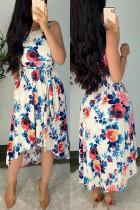 Multi Fashion Sweet Cute Elegant Tank Sleeveless U Neck Vest Dress Mid Calf Mixed Printing Dresses