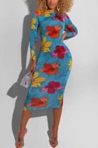 Blue Fashion Vintage Celebrities Elegant Regular Sleeve Long Sleeve O Neck Sheath Mid Calf Floral Dresses