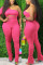 Pink Fashion Sexy Oblique Collar Half Sleeve Single Sleeve Solid Plus Size Set