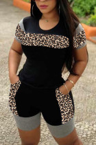 Black Polyester Casual Leopard Patchwork Straight Short Sleeve Two Pieces