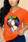 Orange Fashion Casual O Neck Short Sleeve Regular Sleeve Regular Figure Letter Tops