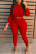 Red Fashion Sexy O Neck Long Sleeve Regular Sleeve Solid Plus Size Set
