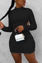 Black Fashion Sexy Elegant Regular Sleeve Long Sleeve O Neck Long Sleeve Dress Mini Solid Dresses
