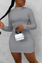 Gray Fashion Sexy Elegant Regular Sleeve Long Sleeve O Neck Long Sleeve Dress Mini Solid Dresses