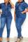 Blue Fashion Casual Turndown Collar Short Sleeve Regular Sleeve Solid Plus Size Jumpsuit