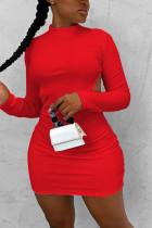 Red Fashion Sexy Elegant Regular Sleeve Long Sleeve O Neck Long Sleeve Dress Mini Solid Dresses