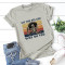 Gray Fashion Casual Daily O Neck Short Sleeve Regular Sleeve Regular Letter Character Tops