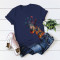 Navy Blue Casual Cute O Neck Short Sleeve Regular Sleeve Regular Animal Print Tops