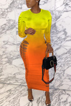 Yellow Milk. Fashion adult Ma'am Street Cap Sleeve Long Sleeves O neck Pencil Dress Ankle-Length Ombre Dresses