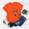 Orange Casual Cute O Neck Short Sleeve Regular Sleeve Regular Animal Print Tops