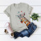 Gray Casual Cute O Neck Short Sleeve Regular Sleeve Regular Animal Print Tops