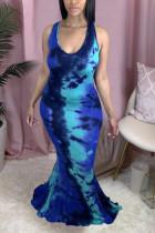 Tibetan Blue Fashion Sexy Celebrities Cold Shoulder Sleeveless Halter Trumpet Mermaid Floor Length Tie Dye Dresses