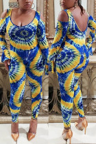 Blue Sexy O Neck Long Sleeve Flare Sleeve Skinny Print Jumpsuits
