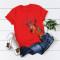 Red Casual Cute O Neck Short Sleeve Regular Sleeve Regular Animal Print Tops