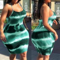 Green Fashion Sexy Daily Spaghetti Strap Sleeveless Spaghetti Strap Mini Dress Mini Tie Dye Dresses