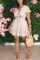 Pink Sweet Ruffled Sleeve Short Sleeves V Neck Cake Print Stringy Selvedge Dresses