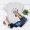 White Casual Cute O Neck Short Sleeve Regular Sleeve Regular Animal Print Tops