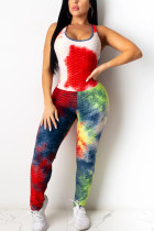 Red Fashion Sexy Sportswear Cold Shoulder Sleeveless Tank Skinny Tie Dye Jumpsuits