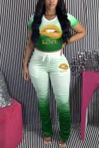 Green Polyester Sexy O Neck Print Draped Gradient Lips Print Pattern Plus Size