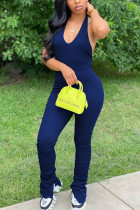 Deep Blue Fashion Sexy Street Daily Halter Sleeveless Cold Shoulder Regular Solid Jumpsuits