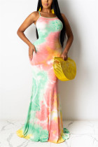 Colorful Sexy Off The Shoulder Sleeveless Spaghetti Strap Printed Dress Trailing Print Tie Dye Dresses
