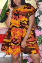 Orange Chemical fiber blend Sexy O Neck Patchwork Camouflage ruffle Stitching Plus Size