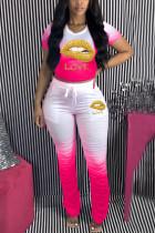 Pink Polyester Sexy O Neck Print Draped Gradient Lips Print Pattern Plus Size