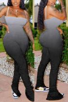 Black Sexy Spaghetti Strap Sleeveless Off The Shoulder Skinny Gradual Change Print Jumpsuits