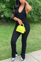 Black Fashion Sexy Street Daily Halter Sleeveless Cold Shoulder Regular Solid Jumpsuits