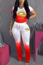 Red Polyester Sexy O Neck Print Draped Gradient Lips Print Pattern Plus Size