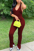 Wine Red Fashion Sexy Street Daily Halter Sleeveless Cold Shoulder Regular Solid Jumpsuits
