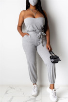 Gray Fashion Sexy Sleeveless Strapless Off The Shoulder Short Solid Two Pieces