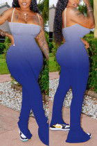 Blue Sexy Spaghetti Strap Sleeveless Off The Shoulder Skinny Gradual Change Print Jumpsuits