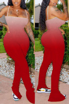 Red Sexy Spaghetti Strap Sleeveless Off The Shoulder Skinny Gradual Change Print Jumpsuits