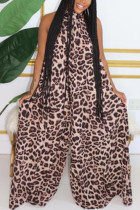 Leopard Fashion Sexy Street Halter Sleeveless Off The Shoulder Boot Cut Animal Print Jumpsuits