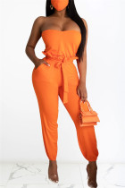 Orange Fashion Sexy Sleeveless Strapless Off The Shoulder Short Solid Two Pieces