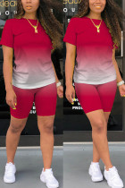 rose red Fashion Casual Gradient Short Sleeve Two Pieces