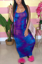 Deep Purple Fashion Sexy Daily Spaghetti Strap Sleeveless Spaghetti Strap Sling Dress Ankle Length Mixed Printing Dresses