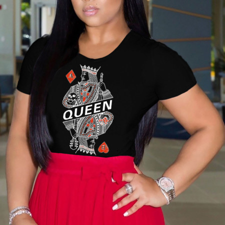 Black Fashion Casual Daily O Neck Short Sleeve Regular Sleeve Regular Character Tops