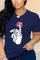 Navy Blue Fashion Casual O Neck Short Sleeve Regular Sleeve Regular Print Tops