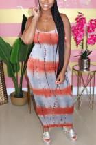 Orange Fashion Sexy Daily Spaghetti Strap Sleeveless Spaghetti Strap Sling Dress Ankle Length Mixed Printing Dresses