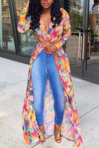 Colorful Fashion Casual Daily V Neck Long Sleeve Regular Sleeve Mixed Printing Coats