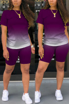 purple Fashion Casual Gradient Short Sleeve Two Pieces